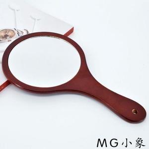 MG 桌鏡化妝鏡-隨身鏡木質復古手拿便攜梳妝鏡