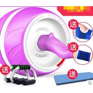 回彈健腹輪腹肌輪訓練器收腹部健身器材家用男女減肚子滾滑輪靜音【熏衣紫+送跪墊/主圖款】