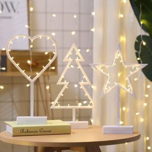 星星愛心聖誕樹造型LED檯燈座少女心房間床頭裝飾燈小夜燈 極客玩家