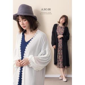 A-SO-BI韓系-蕾絲花滾邊澎澎袖長版針織外套【B30388-14】