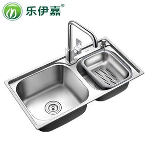 樂伊嘉加深加厚廚房304不銹鋼水槽雙槽套餐洗碗槽家用池盆洗菜盆 igo 好再來小屋