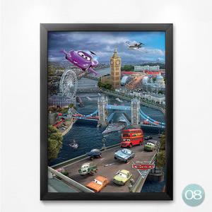[銀聯網] 電影海報飛機汽車玩具總動員兒童房裝飾畫(黑框) 1入