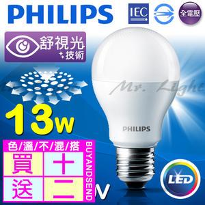 【有燈氏】活動限定 買十送二 PHILIPS 飛利浦 LED E27 13W 舒適光 球泡 燈泡 無藍光【PH-E2713W】