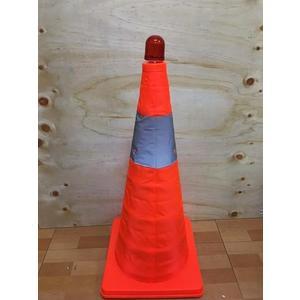優惠組合【50公分伸縮三角錐+LED警示燈】NO135路錐反光錐汽車安全警示路障三角【八八八】e網購