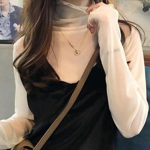 蕾絲上衣 春裝新款韓國高領針織網紗內搭小衫女薄款長袖蕾絲衫上衣 宜室家居