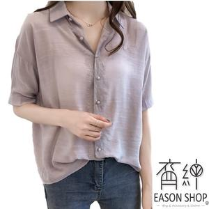 EASON SHOP(GW2138)韓版純色蕾絲拼接前排釦前短後長薄款短袖襯衫女上衣服落肩寬鬆內搭衫藍色