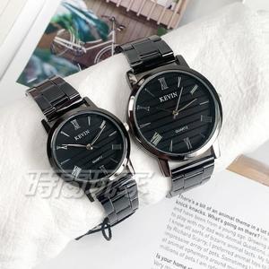 KEVIN 羅馬數字時刻情人對錶 情侶 學院風 男錶+女錶 防水手錶 學生錶 黑 KV2280羅黑大+KV2280羅黑小