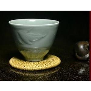 [協貿國際]  青瓷金魚蓮花杯茶杯咖啡玲瓏杯 (1入)