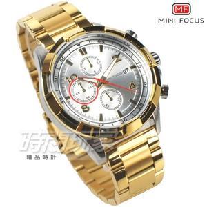 MINI FOCUS 型男賽車錶 三眼多功能 計時碼錶 日期視窗 防水手錶 學生錶 男錶 MF0198白金