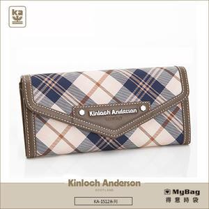Kinloch Anderson 金安德森 皮夾 英式學院 咖啡 經典格紋長夾 牛皮女夾 KA151203  MyBag得意時袋