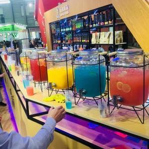 復古無鉛玻璃壺開關瓶果汁罐冷飲啤酒桶大容量不耐熱水龍頭飲料桶wy