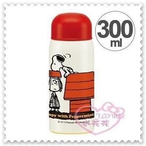 ♥小花花日本精品♥ Hello Kitty 史努比Snoopy不鏽鋼保溫瓶保冷瓶白色狗屋300ml 11283300