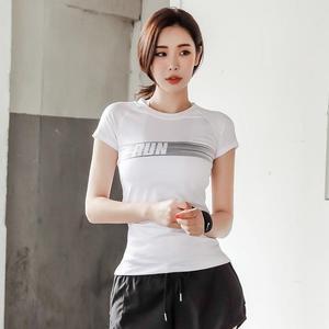 韓國新款瑜伽服運動T恤女健身衣短袖健身房訓練速干上衣緊身時尚