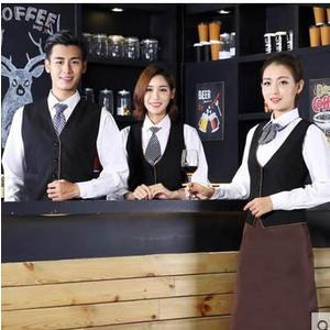 京東生活小物咖啡廳服務員馬甲制服飯店前臺酒吧西餐廳工作服飯店工作服秋冬裝