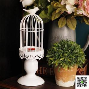 蠟燭台 歐式創意復古鐵藝桌面小鳥籠燭台蠟燭台美式家居軟裝飾品道具擺件 一件免運