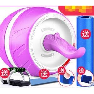 回彈健腹輪腹肌輪訓練器收腹部健身器材家用男女減肚子滾滑輪靜音【熏衣紫+俯臥撑/主圖款】
