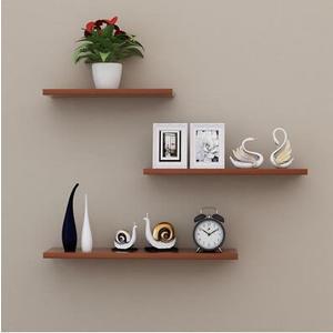 牆上置物架牆壁客廳一字隔板擱板壁挂牆面層板書架現代簡約裝飾升级款柚木色24(首圖款)