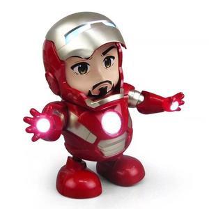 小鋼鐵人玩具 電動機器人玩偶 迷你鋼鐵人會唱歌跳舞搖擺發光有音樂 官方配備三號電池/澤米