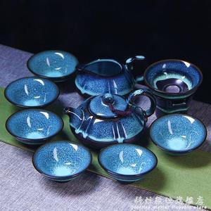 整套陶瓷天目油滴藍珀釉蓋碗功夫茶具窯變建盞套裝品茗杯茶杯茶壺 WD科炫數位