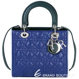 Dior Lady Dior 拼色小羊皮兩用手提黛妃包(藍x綠x白) 1610234-77