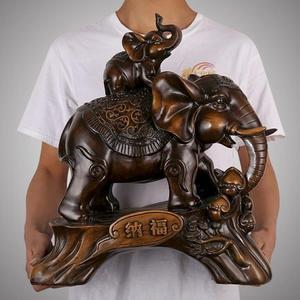 金豬迎新 大象擺件招財風水象一對酒柜裝飾品辦公室桌面擺設工藝品開業禮品