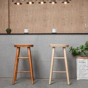 實木酒吧椅吧台凳北歐高腳椅做舊吧椅家用吧凳吧椅單人高腳凳xw