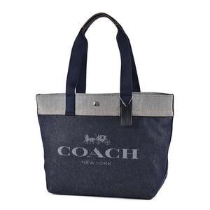 美國正品 COACH 配色單寧牛仔經典馬車釦式托特包-深藍色【現貨】