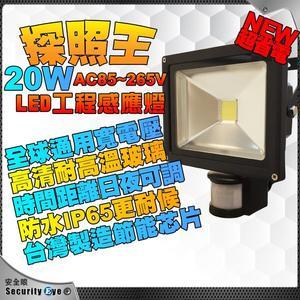 【台灣安防家】20W 白光 黃光 LED 防水 探照燈 移動偵測 感應燈 寬電壓AC85~265V