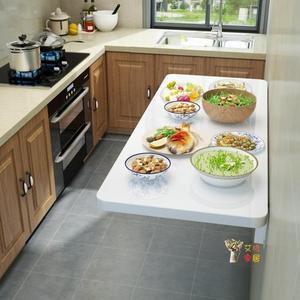 壁掛桌 摺疊桌壁掛家用簡易廚房操作台小戶型連壁桌可伸縮隱形多功能餐桌T