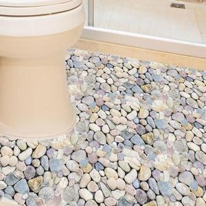 3D立體創意衛生間浴室地板地面瓷磚貼紙貼畫地貼自粘墻貼防水耐磨