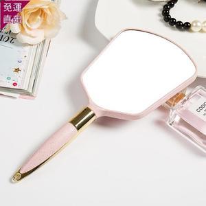 化妝鏡 高清手柄化妝鏡手拿化妝鏡子便攜隨身牙科復古花邊單面小鏡