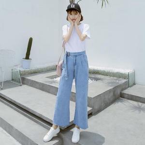 牛仔寬褲 女寬松正韓顯瘦高腰直筒九分褲 艾米潮品館