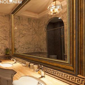 鏡子 美式浴室鏡復古做舊歐式浴室櫃鏡子壁掛衛生間廁所裝飾鏡子 MKS卡洛琳