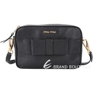 miu miu Madras Fiocco 山羊皮蝴蝶結飾方肩包(黑色) 1740335-01