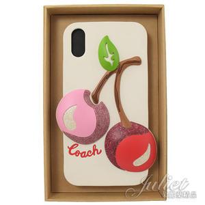 茱麗葉精品【全新現貨】 COACH 75858 立體櫻桃造型Iphone XR矽膠手機殼.白