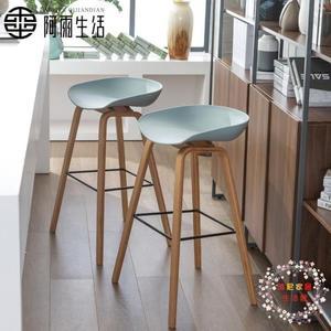 阿雨生活北歐實木吧台椅子吧椅現代簡約酒吧椅高腳吧凳家用高凳子XW