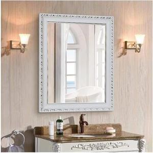 歐式浴室鏡子衛生間鏡壁掛防水衛浴鏡化妝鏡帶框梳妝鏡穿衣鏡簡約【60*80厘米】