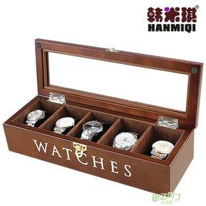 手錶收藏盒 木質手錶飾品收納盒手鐲手鐲文玩收藏盒包絨手錶盒