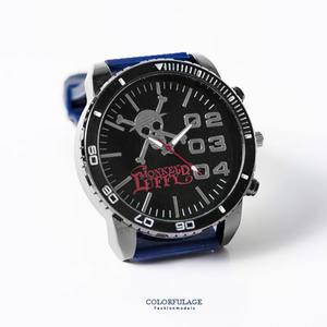 One Piece 海賊王 路飛草帽團圖案設計藍錶帶手錶 送禮/珍藏首選 柒彩年代【NE1743】原廠平行輸入