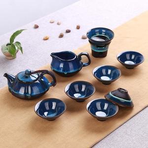 整套陶瓷天目油滴藍珀釉蓋碗功夫茶具窯變建盞套裝品茗杯茶杯茶壺