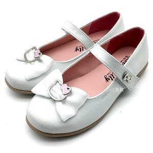 《7+1童鞋》HELLO KITTY  銀色蝴蝶結 魔鬼氈 娃娃鞋 公主鞋 D611 白色