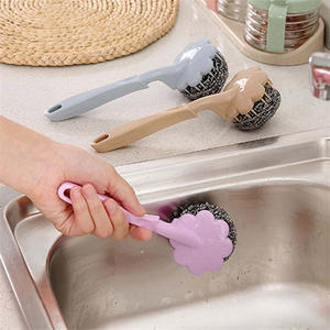 鋼絲球 鋼刷 刷子 長柄刷 洗鍋 洗碗 清潔刷 可拆式鋼刷 手柄鋼絲球刷(長柄)【L065】慢思行