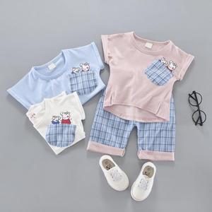套裝。口袋佩佩豬/喬治短袖T恤+格紋褲二件組男女童裝 *繪米熊童裝*(AL70721)