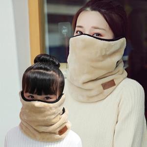 口罩圍脖一體加絨兒童保暖親子女圍巾騎車透氣秋冬季加厚護頸面罩  魔法鞋櫃