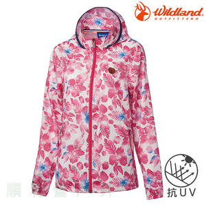 荒野 WILDLAND 女款抗UV輕薄印花外套 0A61983 珍珠粉 排汗外套 防曬外套 OUTDOOR NICE