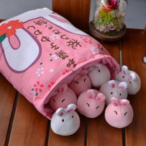 玩偶 日本一大袋櫻花小兔子餅毛絨玩具創意零食抱枕少女心公仔【幸運閣】