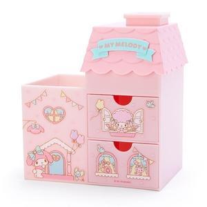 〔小禮堂〕美樂蒂 房屋造型拿蓋雙抽筆筒收納盒《粉綠》棉花盒.刷具筒 4901610-04635