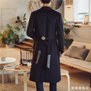 秋風衣男裝中國風刺繡披風青年唐裝外套中長加長版過膝料大衣wy