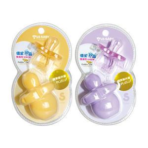 優生 US BABY 矽晶安撫奶嘴 微笑新升級-雙扁型 S (紫/橘)