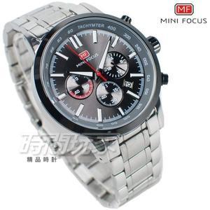 MINI FOCUS 急速賽車錶 三眼多功能 計時碼錶 日期視窗 防水手錶 學生錶 MF0133黑